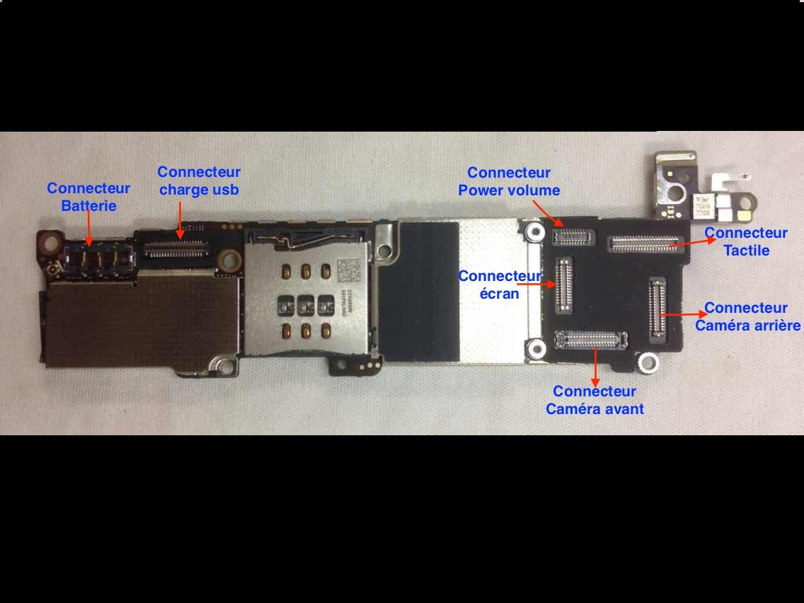 carte mère iphone 5c R paration soudure connecteur cran tactile sur carte m re